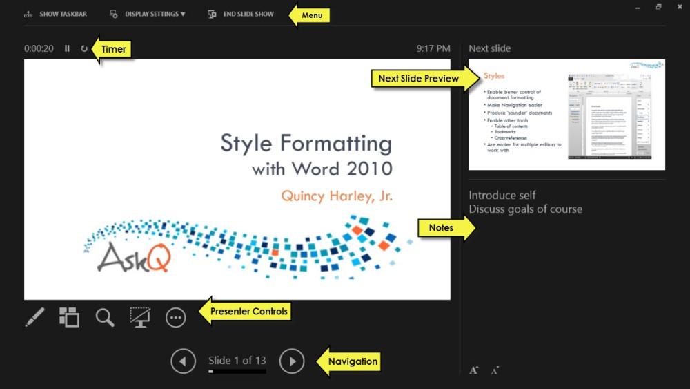 PowerPoint 2013 Presenter View (1/2)