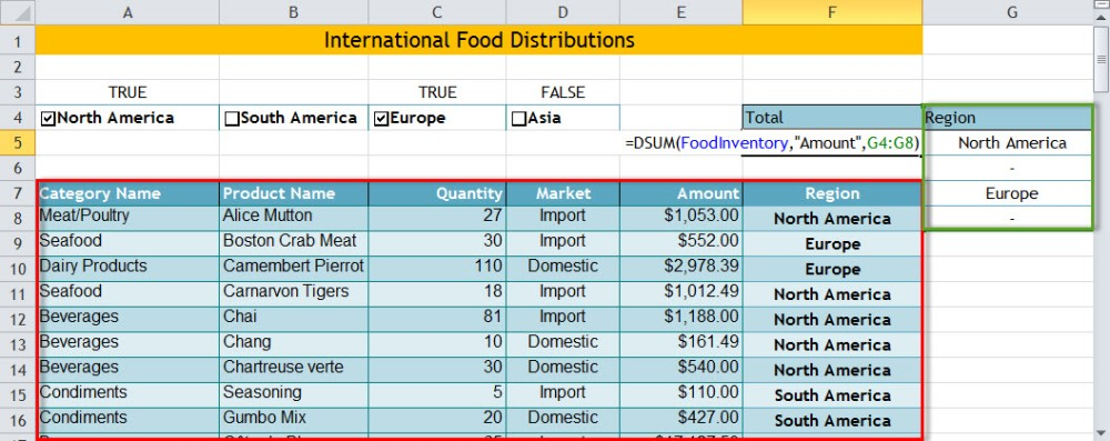 Automating the Spreadsheet using Check Boxes, DSUM & IF (4/4)