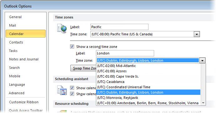 OutlookOptionsCalendar
