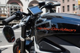 NEW YORK, NY - JUNE 23: A Harley Davidson Livewire motorcycle, Harley Davidson's first electric bike, sits on display outside the Harley Davidson Store on June 23, 2014 in New York City. The Livewire has 74 horsepower and a top speed of 92 miles per hour. (Photo by Andrew Burton/Getty Images)